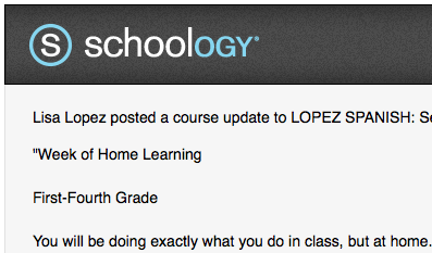 Screenshot of a small portion of a thorough Schoology post from a Spanish teacher.